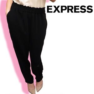 Express Wide Waistband/Paperbag Tapered Pants - M